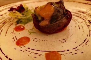 Champiñón portobello de trigueros y gambon